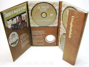 custom dvd replication unique title for multi disc 3 dvds paper tray die cut
